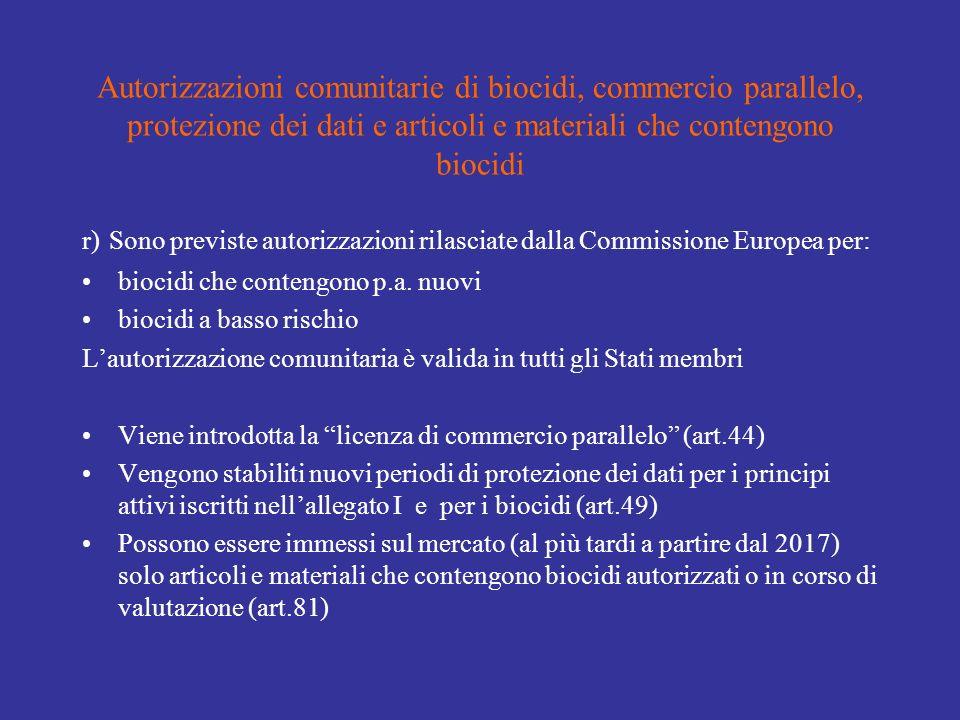 Autorizzazioni comunitarie di biocidi, commercio parallelo, protezione dei dati e articoli e materiali che contengono biocidi r) Sono previste autorizzazioni rilasciate dalla Commissione Europea per: biocidi che contengono p.a.