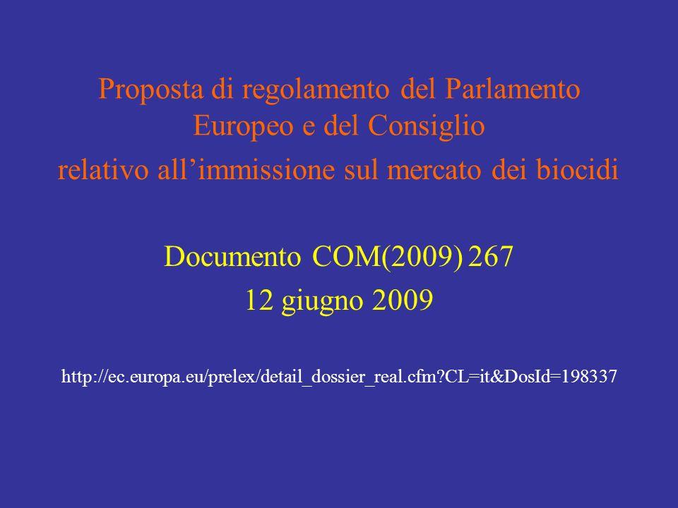 Proposta di regolamento del Parlamento Europeo e del Consiglio relativo allimmissione sul mercato dei biocidi Documento COM(2009) 267 12 giugno 2009 http://ec.europa.eu/prelex/detail_dossier_real.cfm CL=it&DosId=198337