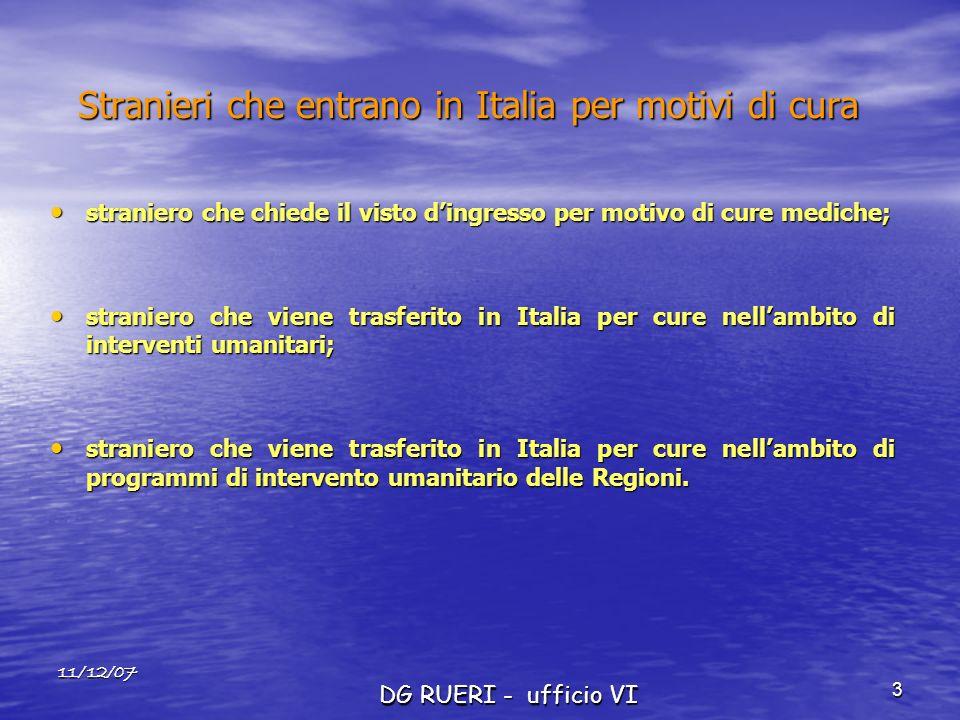 11/12/07 DG RUERI - ufficio VI 3 Stranieri che entrano in Italia per motivi di cura straniero che chiede il visto dingresso per motivo di cure mediche