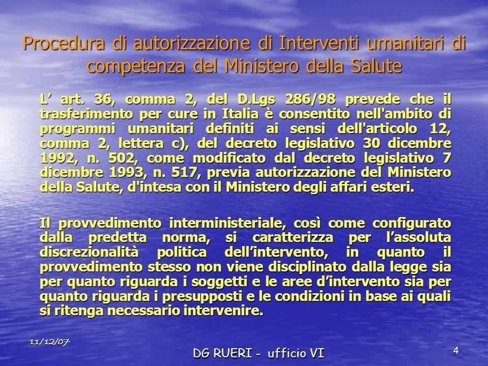 11/12/07 DG RUERI - ufficio VI 4 Procedura di autorizzazione di Interventi umanitari di competenza del Ministero della Salute L art. 36, comma 2, del