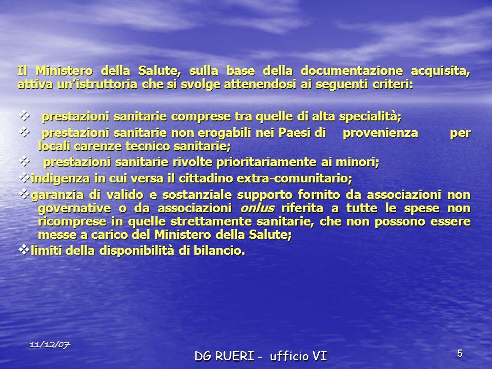 11/12/07 DG RUERI - ufficio VI 5 Il Ministero della Salute, sulla base della documentazione acquisita, attiva unistruttoria che si svolge attenendosi