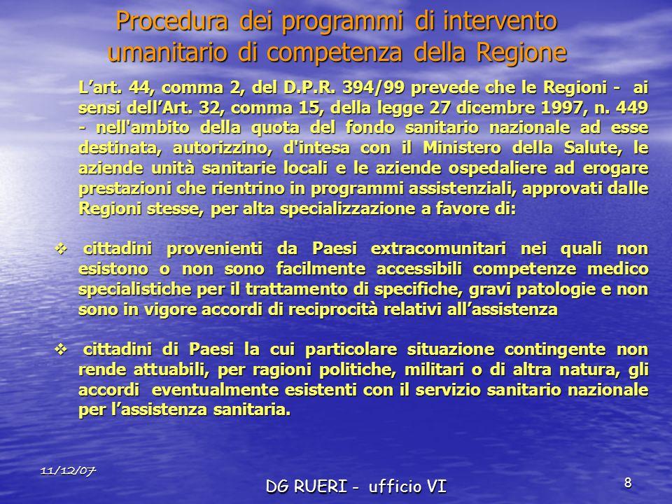 11/12/07 DG RUERI - ufficio VI 8 Lart. 44, comma 2, del D.P.R. 394/99 prevede che le Regioni - ai sensi dellArt. 32, comma 15, della legge 27 dicembre