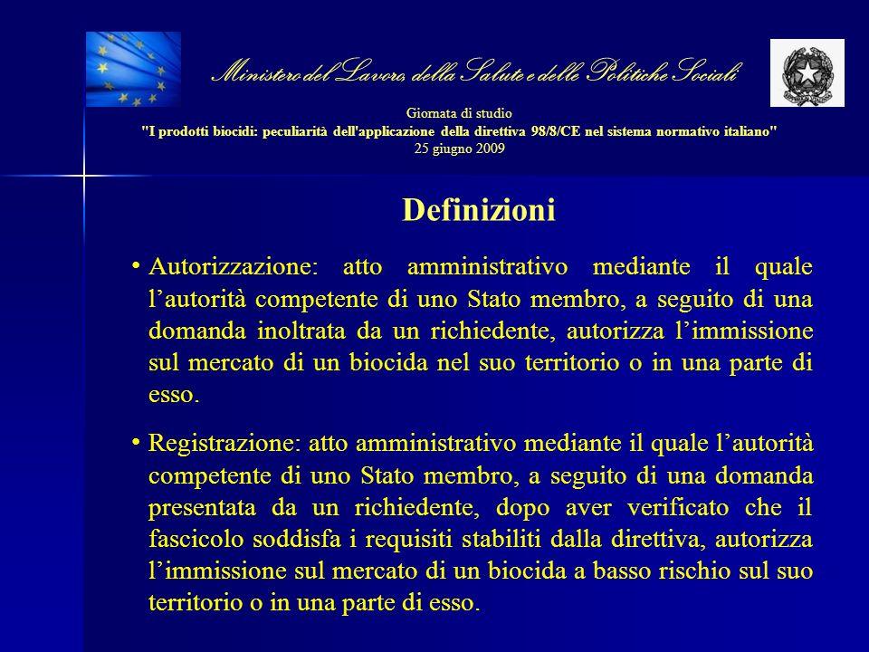 Ministero del Lavoro, della Salute e delle Politiche Sociali Giornata di studio I prodotti biocidi: peculiarità dell applicazione della direttiva 98/8/CE nel sistema normativo italiano 25 giugno 2009 Elaborazione della proposta di revisione La valutazione dell impatto ha evidenziato cinque aspetti sui quali risulta necessario intervenire: 1.CAMPO DI APPLICAZIONE 2.AUTORIZZAZIONE DEL PRODOTTO 3.CONDIVISIONE DEI DATI 4.REQUISITI IN MATERIA DI DATI 5.TARIFFE IMPOSTE DAGLI STATI MEMBRI PER SVOLGERE LE PROCEDURE PREVISTE DALLA DIRETTIVA