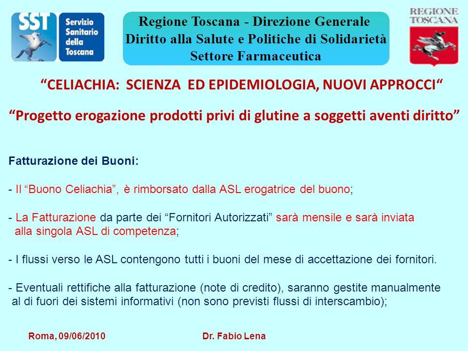 Roma, 09/06/2010 Dr. Fabio Lena Regione Toscana - Direzione Generale Diritto alla Salute e Politiche di Solidarietà Settore Farmaceutica CELIACHIA: SC