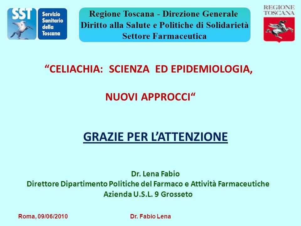 Roma, 09/06/2010 Dr. Fabio Lena Regione Toscana - Direzione Generale Diritto alla Salute e Politiche di Solidarietà Settore Farmaceutica GRAZIE PER LA