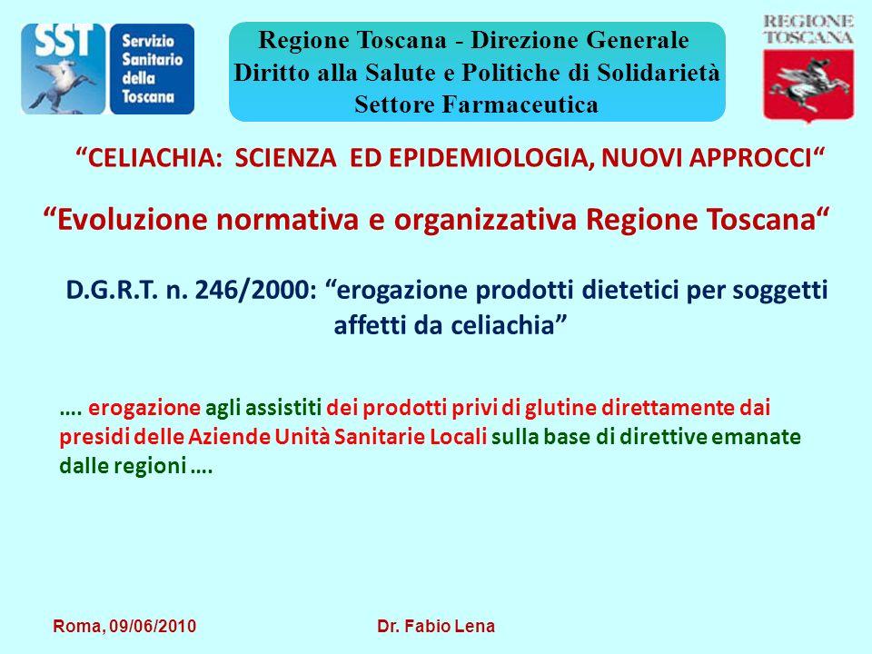 Roma, 09/06/2010 Dr. Fabio Lena Regione Toscana - Direzione Generale Diritto alla Salute e Politiche di Solidarietà Settore Farmaceutica D.G.R.T. n. 2