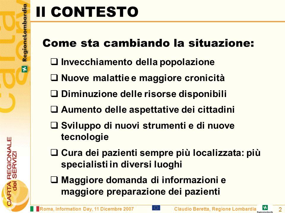 Roma, Information Day, 11 Dicembre 2007Claudio Beretta, Regione Lombardia 3 Medicina centrata sullOspedale; Informazioni centralizzate; Il paziente deve spostarsi per ricevere le cure; Servizi di telemedicina da fatto inesistenti.