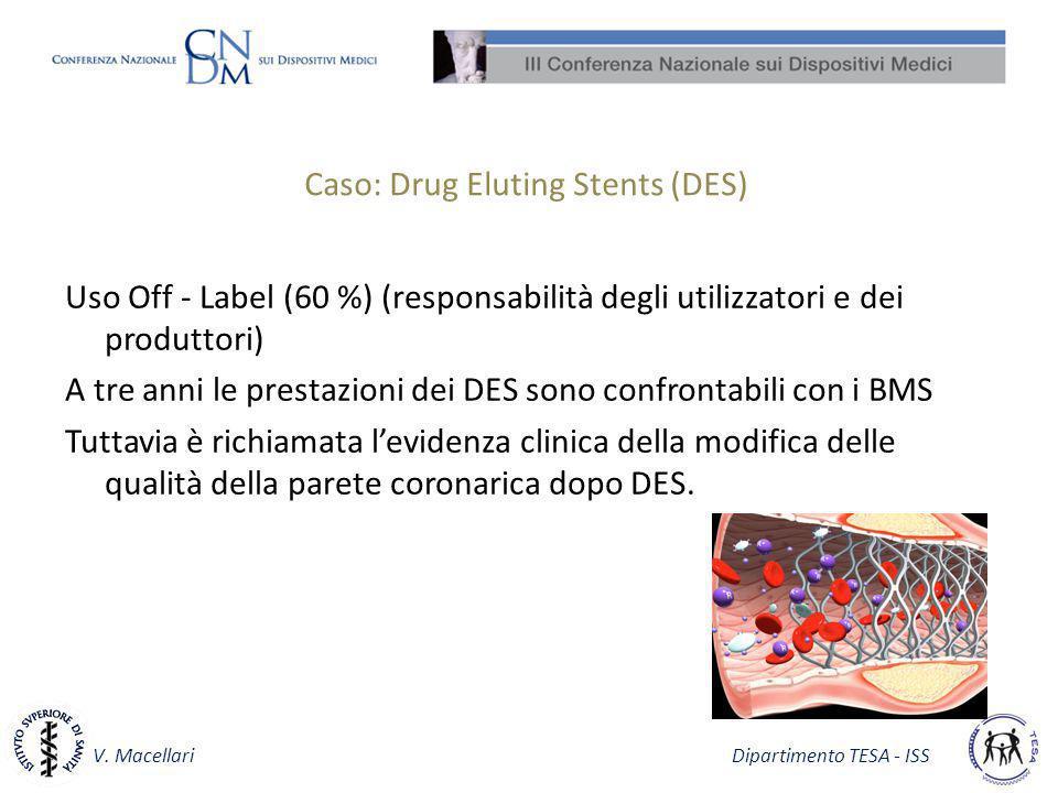 V. Macellari Dipartimento TESA - ISS Caso: Drug Eluting Stents (DES) Uso Off - Label (60 %) (responsabilità degli utilizzatori e dei produttori) A tre