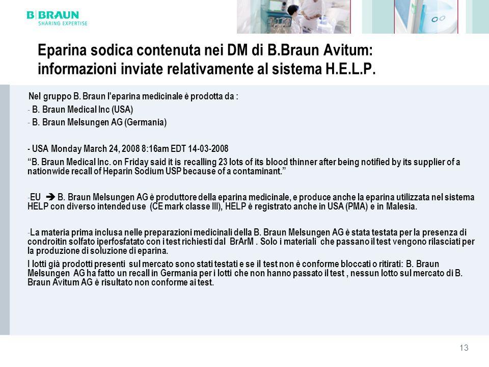 13 Eparina sodica contenuta nei DM di B.Braun Avitum: informazioni inviate relativamente al sistema H.E.L.P. Nel gruppo B. Braun l'eparina medicinale