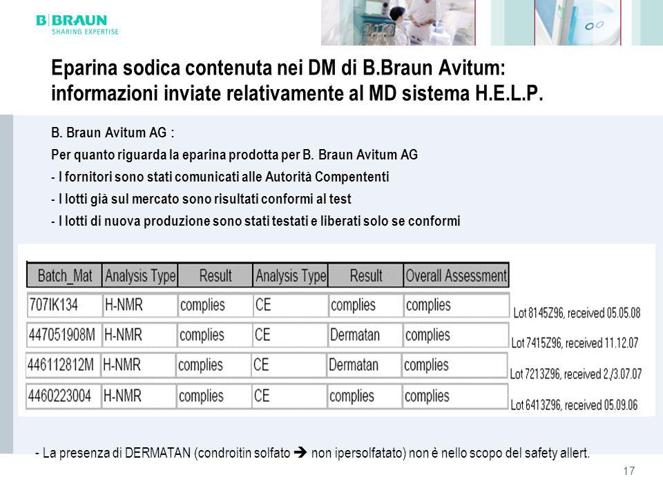 17 Eparina sodica contenuta nei DM di B.Braun Avitum: informazioni inviate relativamente al MD sistema H.E.L.P. B. Braun Avitum AG : Per quanto riguar