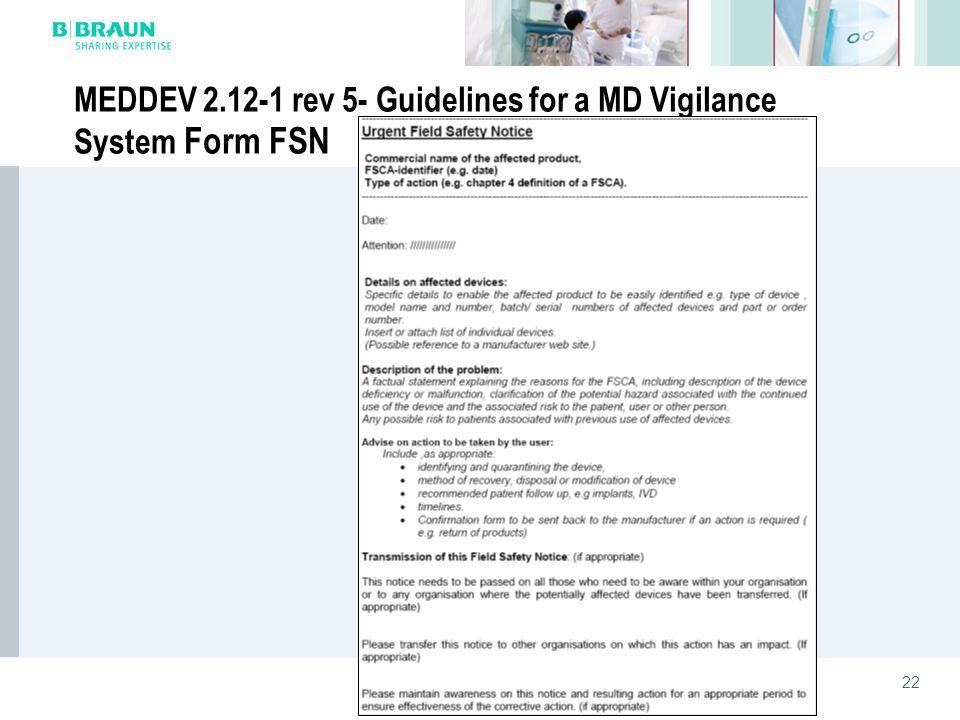 22 MEDDEV 2.12-1 rev 5- Guidelines for a MD Vigilance System Form FSN