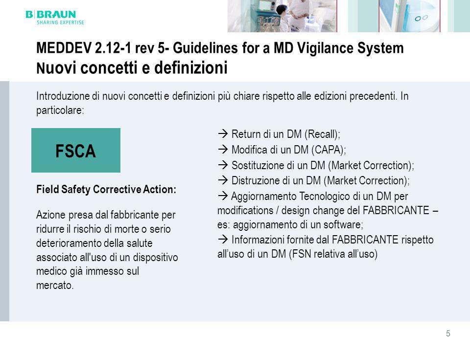 5 Introduzione di nuovi concetti e definizioni più chiare rispetto alle edizioni precedenti. In particolare: MEDDEV 2.12-1 rev 5- Guidelines for a MD