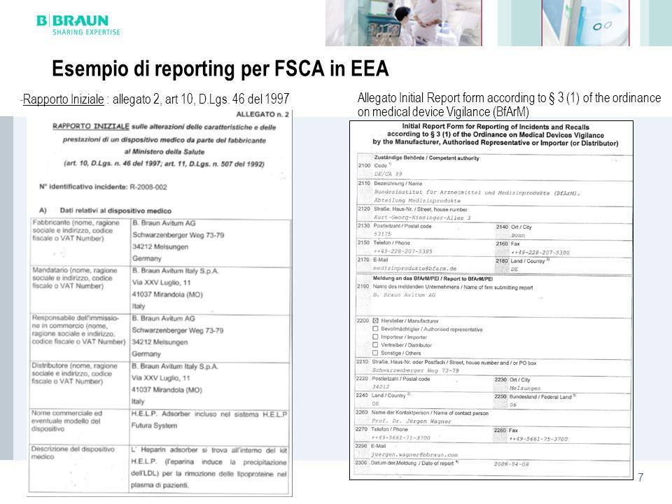 7 Esempio di reporting per FSCA in EEA Allegato Initial Report form according to § 3 (1) of the ordinance on medical device Vigilance (BfArM) -Rapport