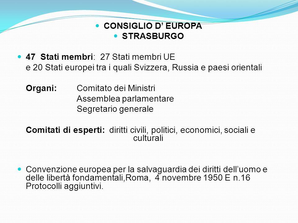 33 CONSIGLIO D EUROPA STRASBURGO 47 Stati membri: 27 Stati membri UE e 20 Stati europei tra i quali Svizzera, Russia e paesi orientali Organi: Comitat