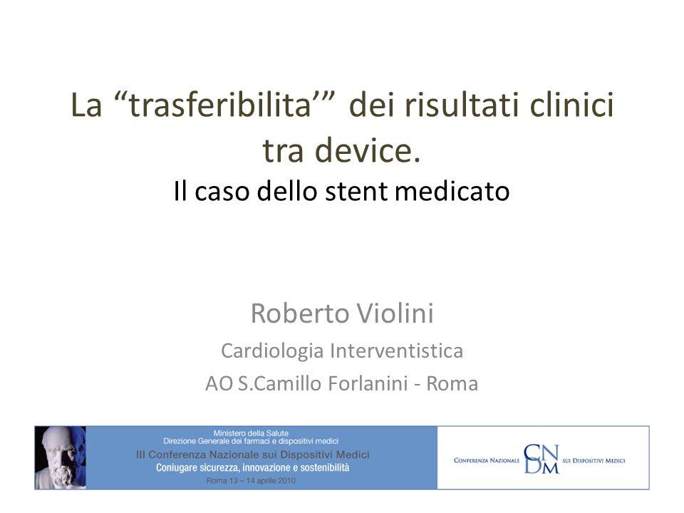 La trasferibilita dei risultati clinici tra device. Il caso dello stent medicato Roberto Violini Cardiologia Interventistica AO S.Camillo Forlanini -