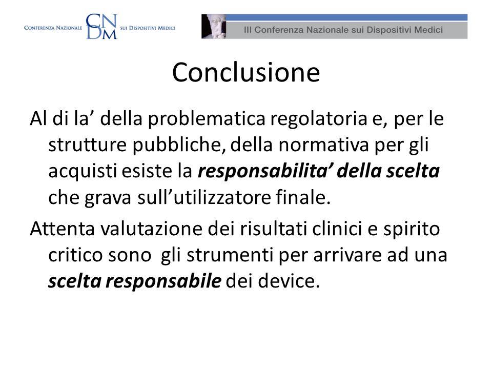 Conclusione Al di la della problematica regolatoria e, per le strutture pubbliche, della normativa per gli acquisti esiste la responsabilita della sce