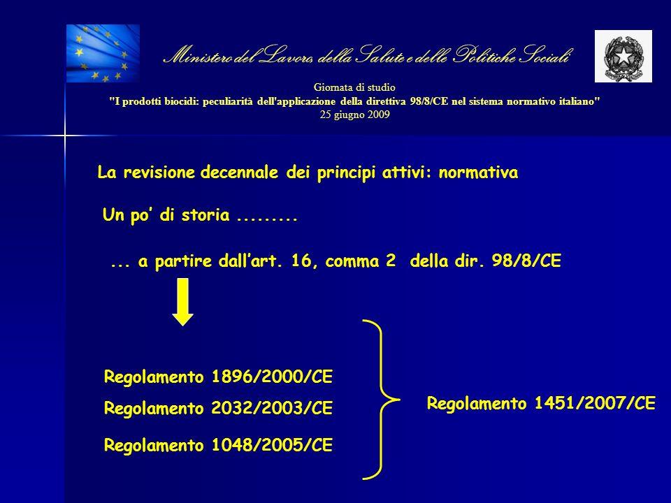 Ministero del Lavoro, della Salute e delle Politiche Sociali Giornata di studio I prodotti biocidi: peculiarità dell applicazione della direttiva 98/8/CE nel sistema normativo italiano 25 giugno 2009 Liste di priorità Scadenze presentazione dossier 1 a (PT 8, 14) 28 marzo 2004 2 a (PT 16, 18, 19, 21) 30 aprile 2006 3 a (PT 1, 2, 3, 4, 5, 6, 13) 31 luglio 2007 4 a (PT 7, 9, 10, 11, 12, 15, 17, 20, 22, 23) 31 ottobre 2008