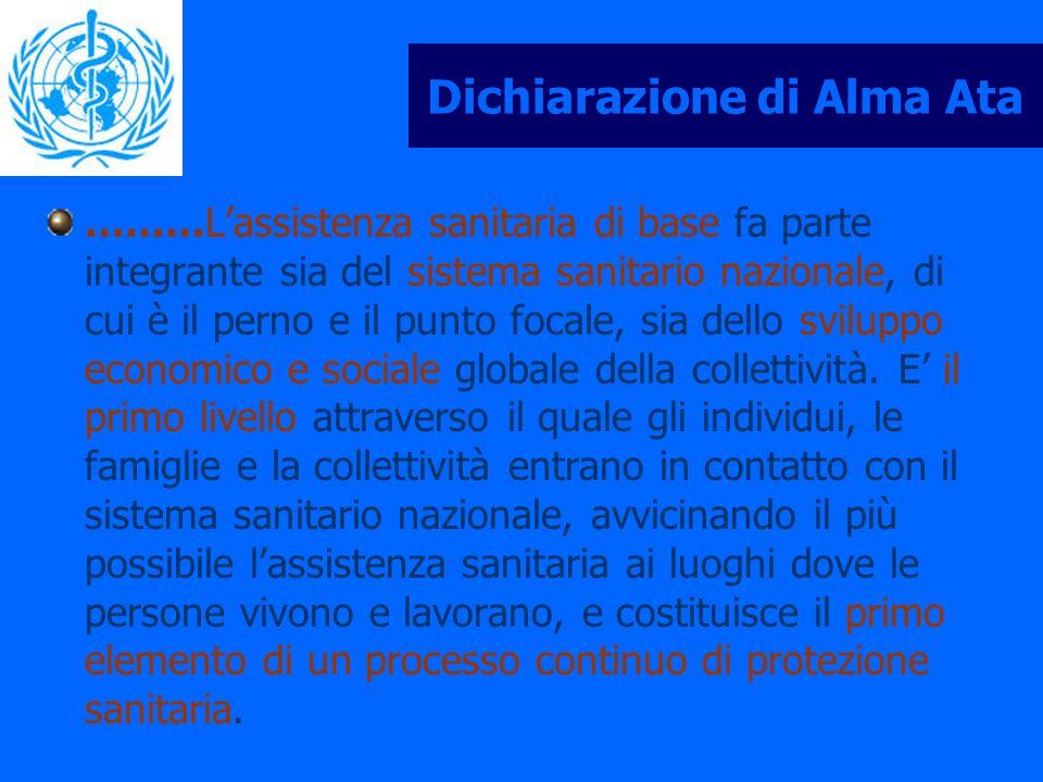 Dichiarazione di Alma Ata ………Lassistenza sanitaria di base fa parte integrante sia del sistema sanitario nazionale, di cui è il perno e il punto focal