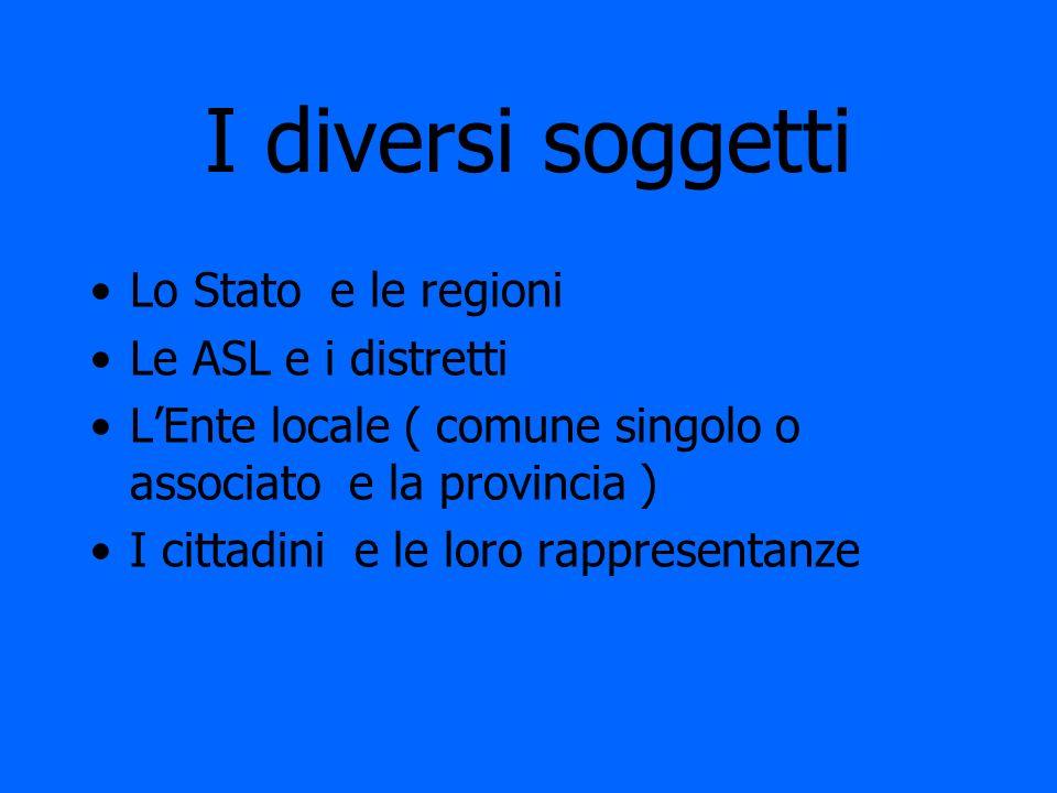 I diversi soggetti Lo Stato e le regioni Le ASL e i distretti LEnte locale ( comune singolo o associato e la provincia ) I cittadini e le loro rappres