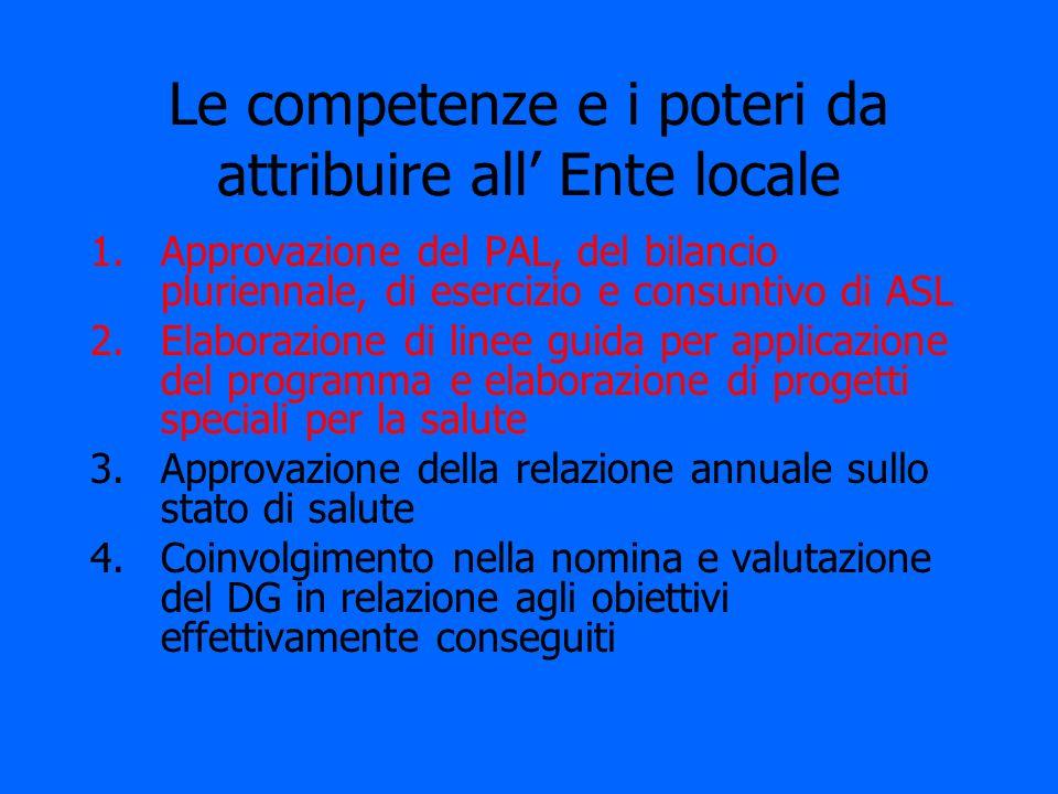 Le competenze e i poteri da attribuire all Ente locale 1.Approvazione del PAL, del bilancio pluriennale, di esercizio e consuntivo di ASL 2.Elaborazio