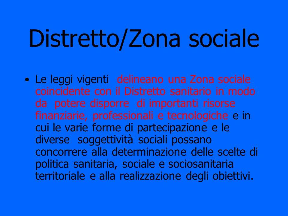 Distretto/Zona sociale Le leggi vigenti delineano una Zona sociale coincidente con il Distretto sanitario in modo da potere disporre di importanti ris