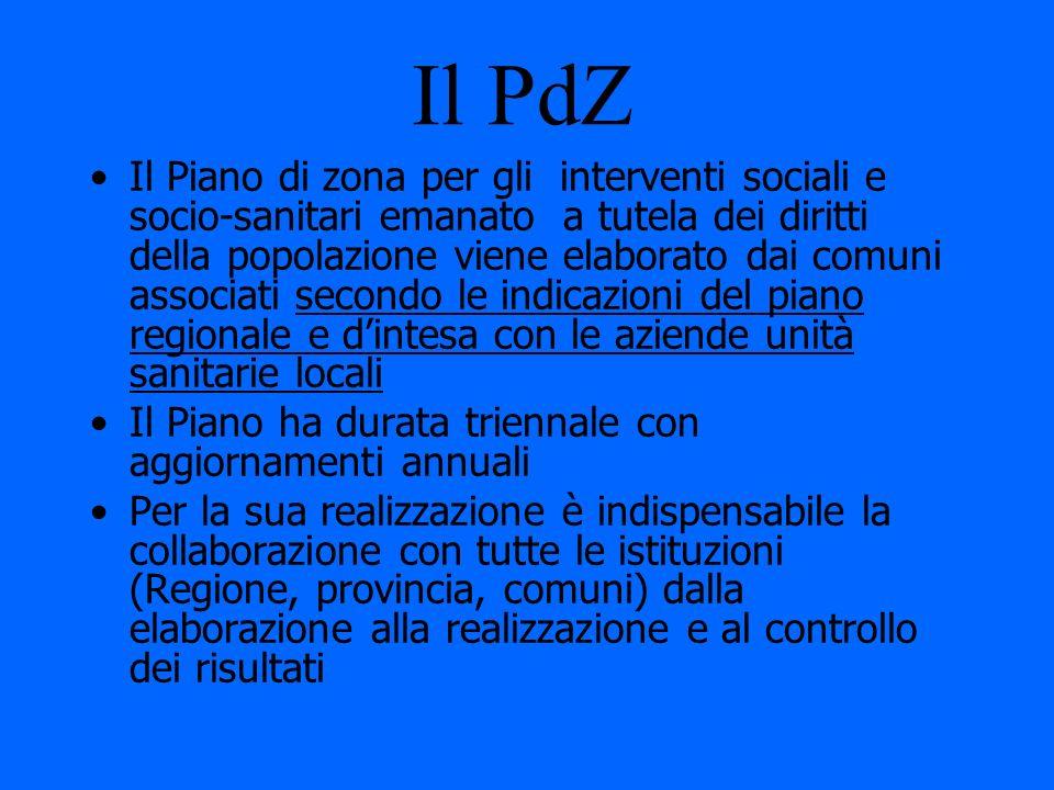 Il PdZ Il Piano di zona per gli interventi sociali e socio-sanitari emanato a tutela dei diritti della popolazione viene elaborato dai comuni associat