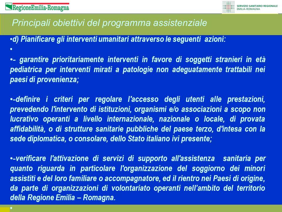 Principali obiettivi del programma assistenziale d) Pianificare gli interventi umanitari attraverso le seguenti azioni: - garantire prioritariamente i