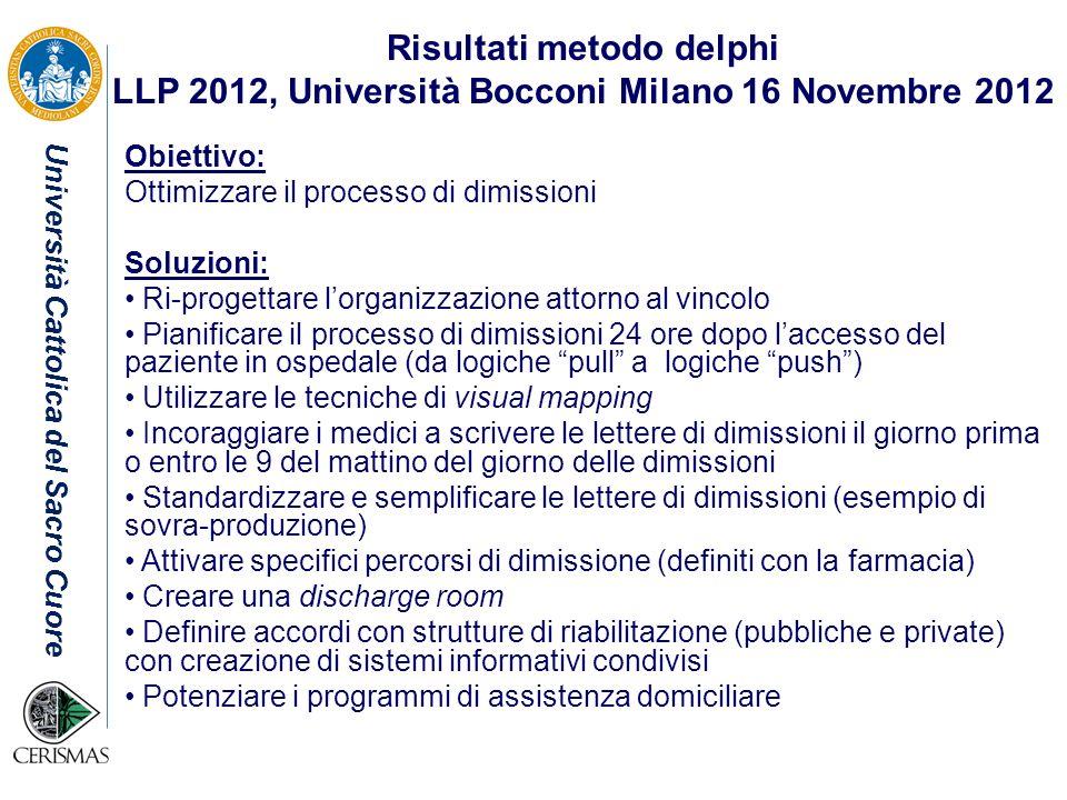 Università Cattolica del Sacro Cuore Risultati metodo delphi LLP 2012, Università Bocconi Milano 16 Novembre 2012 Obiettivo: Ottimizzare il processo d