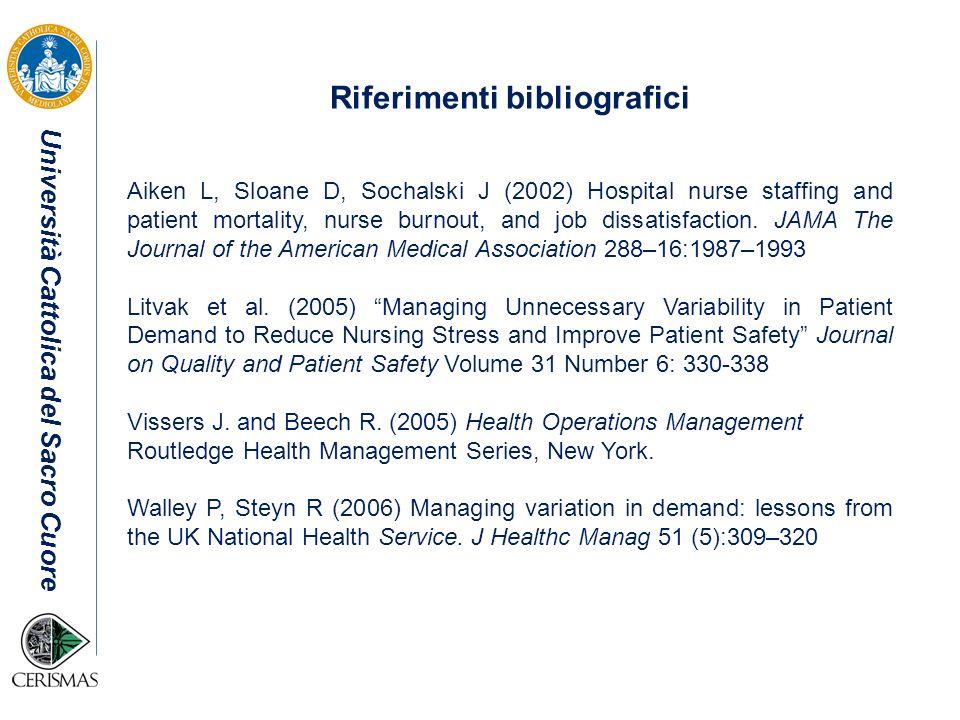 Università Cattolica del Sacro Cuore Riferimenti bibliografici Aiken L, Sloane D, Sochalski J (2002) Hospital nurse staffing and patient mortality, nu