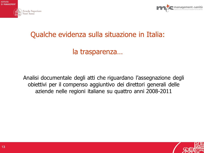 Analisi documentale degli atti che riguardano lassegnazione degli obiettivi per il compenso aggiuntivo dei direttori generali delle aziende nelle regioni italiane su quattro anni 2008-2011 13 Qualche evidenza sulla situazione in Italia: la trasparenza…