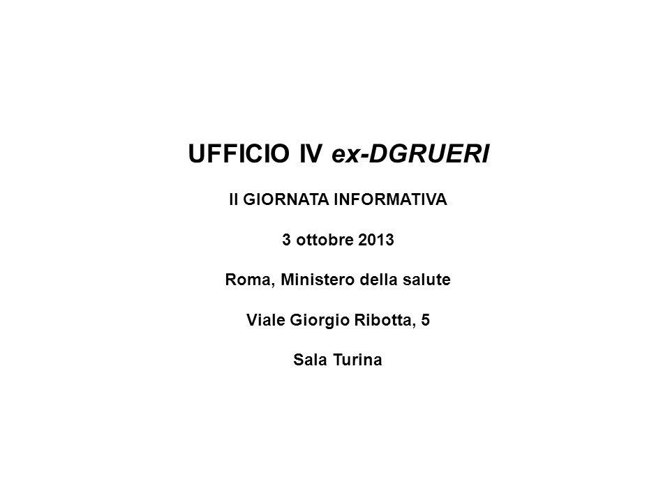 UFFICIO IV ex-DGRUERI II GIORNATA INFORMATIVA 3 ottobre 2013 Roma, Ministero della salute Viale Giorgio Ribotta, 5 Sala Turina