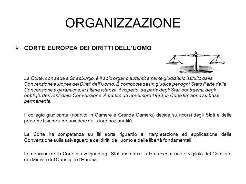 ORGANIZZAZIONE CORTE EUROPEA DEI DIRITTI DELLUOMO La Corte, con sede a Strasburgo, è il solo organo autenticamente giudiziario istituito dalla Convenzione europea dei Diritti dellUomo.