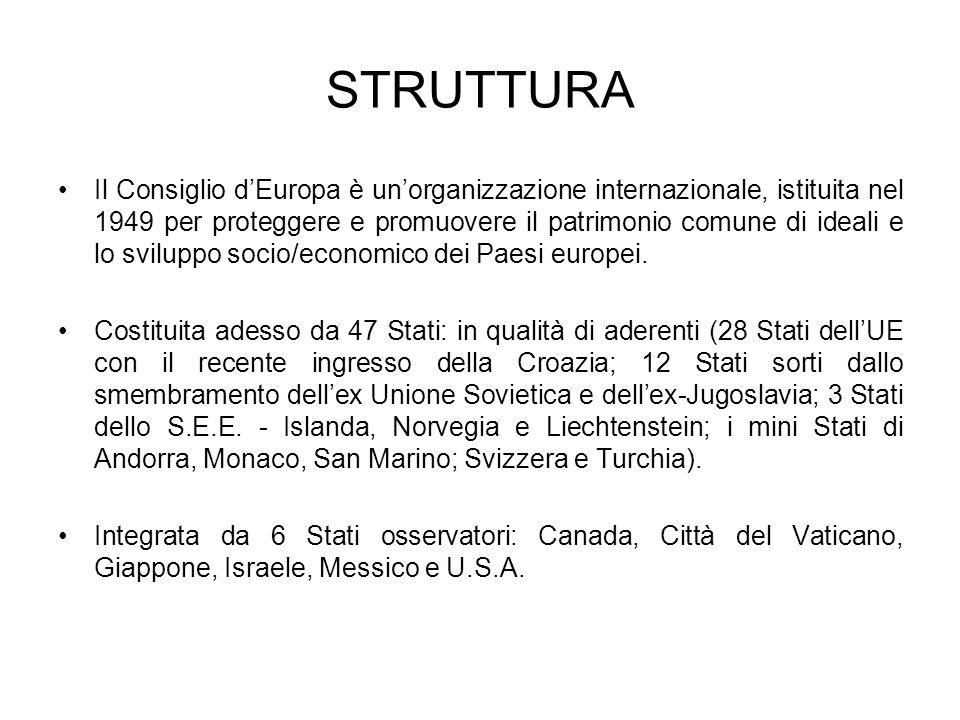 STRUTTURA Il Consiglio dEuropa è unorganizzazione internazionale, istituita nel 1949 per proteggere e promuovere il patrimonio comune di ideali e lo sviluppo socio/economico dei Paesi europei.