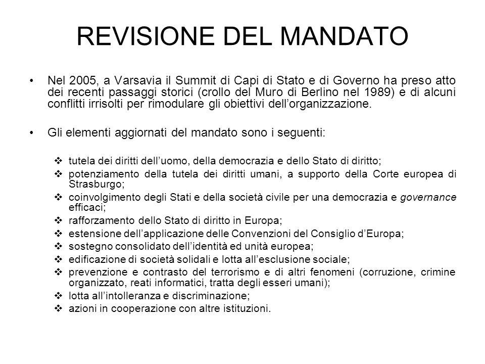 REVISIONE DEL MANDATO Nel 2005, a Varsavia il Summit di Capi di Stato e di Governo ha preso atto dei recenti passaggi storici (crollo del Muro di Berlino nel 1989) e di alcuni conflitti irrisolti per rimodulare gli obiettivi dellorganizzazione.