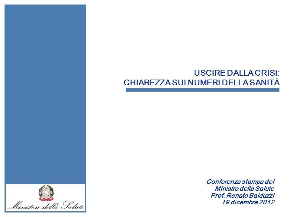 USCIRE DALLA CRISI: CHIAREZZA SUI NUMERI DELLA SANITÀ Conferenza stampa del Ministro della Salute Prof. Renato Balduzzi 19 dicembre 2012