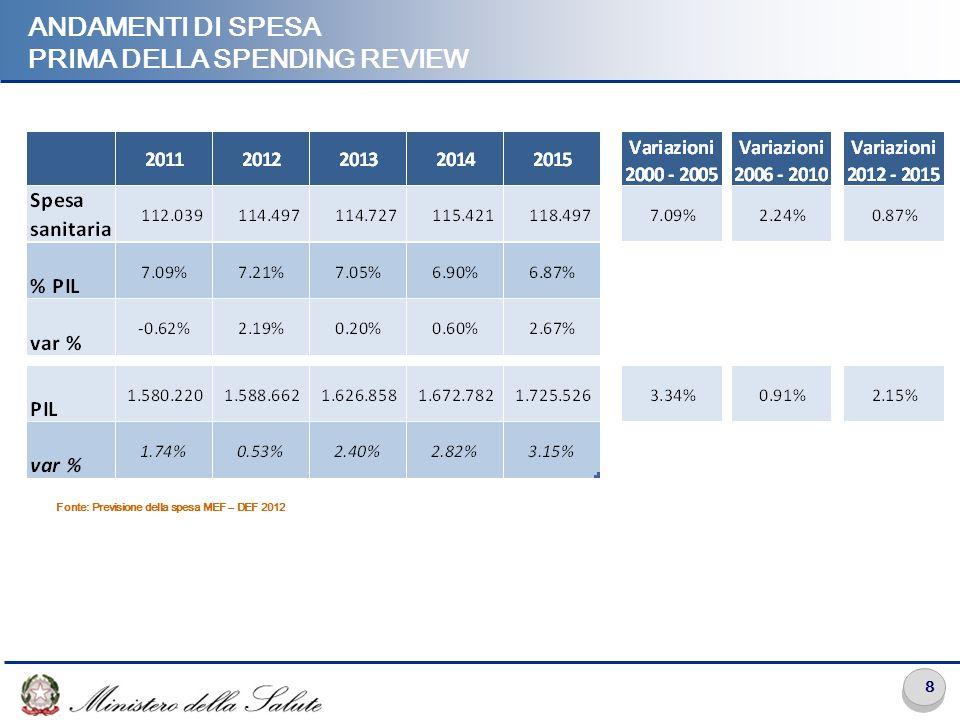8 ANDAMENTI DI SPESA PRIMA DELLA SPENDING REVIEW Fonte: Previsione della spesa MEF – DEF 2012