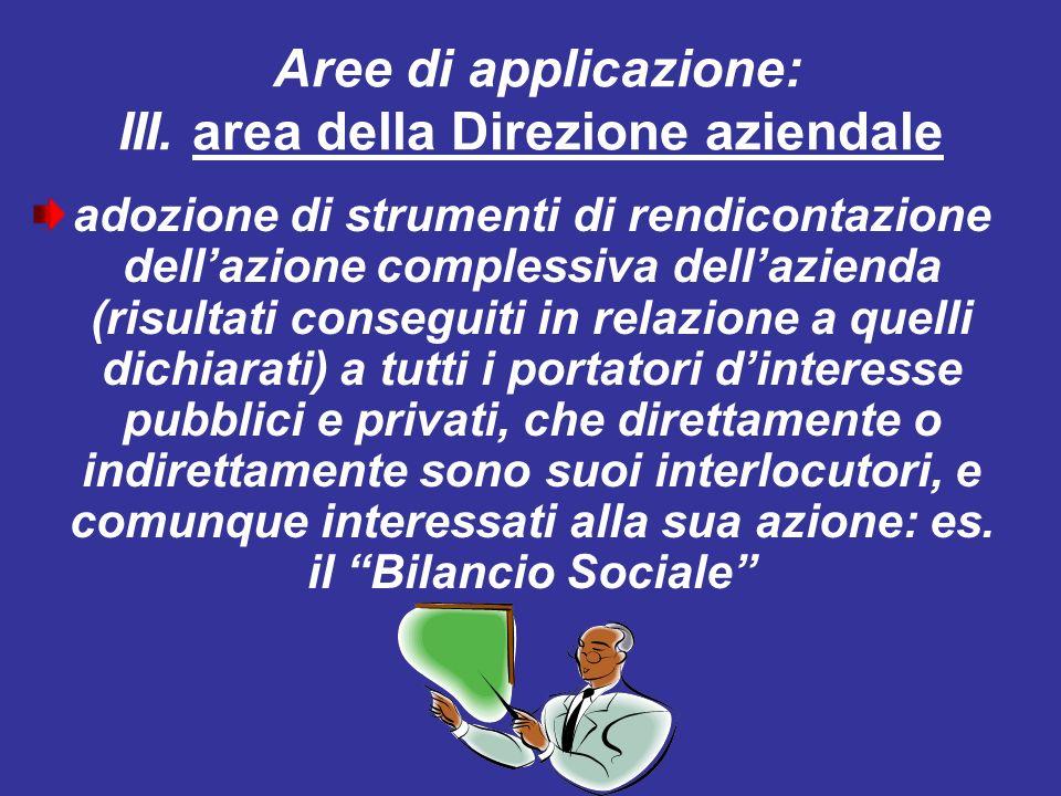 Aree di applicazione: III. area della Direzione aziendale adozione di strumenti di rendicontazione dellazione complessiva dellazienda (risultati conse