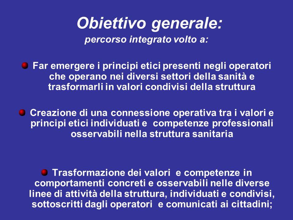 Obiettivo generale: percorso integrato volto a: Far emergere i principi etici presenti negli operatori che operano nei diversi settori della sanità e