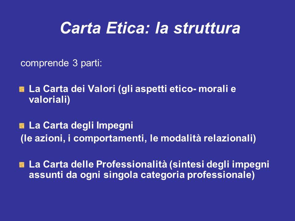 Carta Etica: la struttura comprende 3 parti: La Carta dei Valori (gli aspetti etico- morali e valoriali) La Carta degli Impegni (le azioni, i comporta