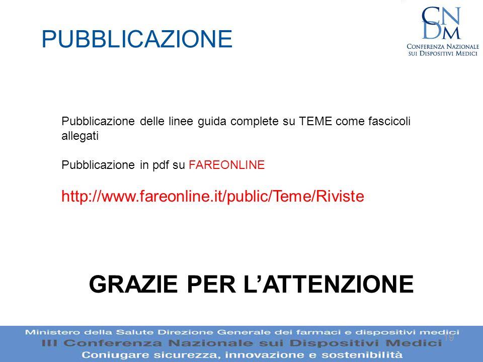19 PUBBLICAZIONE Pubblicazione delle linee guida complete su TEME come fascicoli allegati Pubblicazione in pdf su FAREONLINE http://www.fareonline.it/