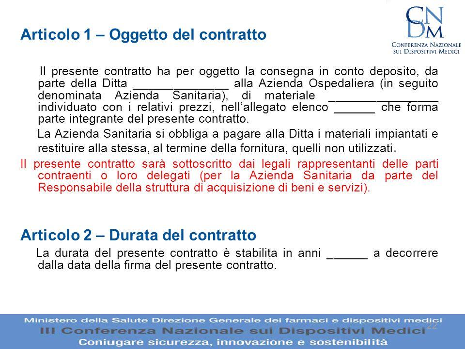 22 Articolo 1 – Oggetto del contratto Il presente contratto ha per oggetto la consegna in conto deposito, da parte della Ditta ______________ alla Azi