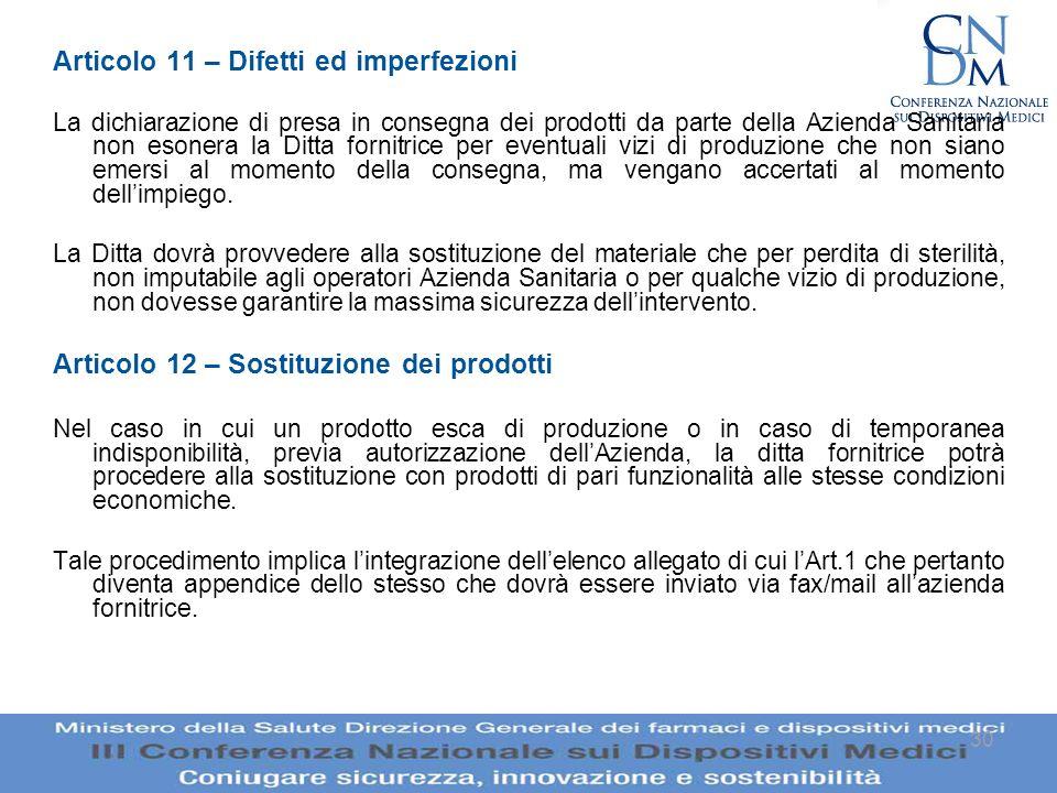 30 Articolo 11 – Difetti ed imperfezioni La dichiarazione di presa in consegna dei prodotti da parte della Azienda Sanitaria non esonera la Ditta forn