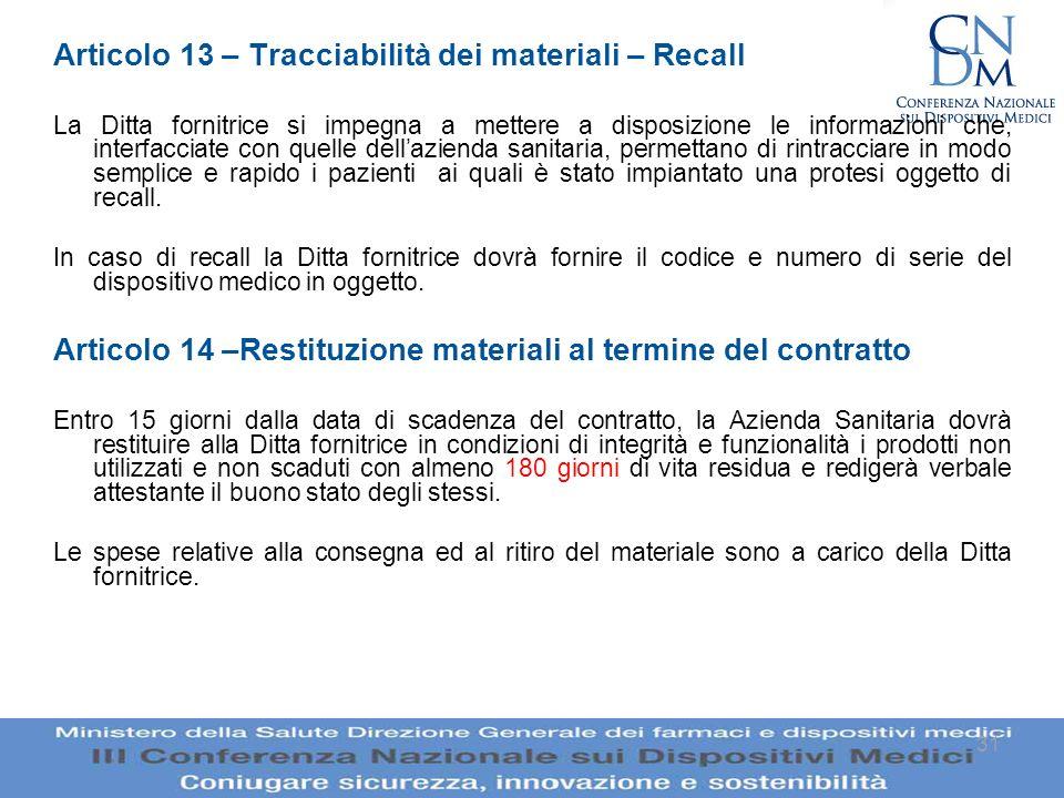 31 Articolo 13 – Tracciabilità dei materiali – Recall La Ditta fornitrice si impegna a mettere a disposizione le informazioni che, interfacciate con q