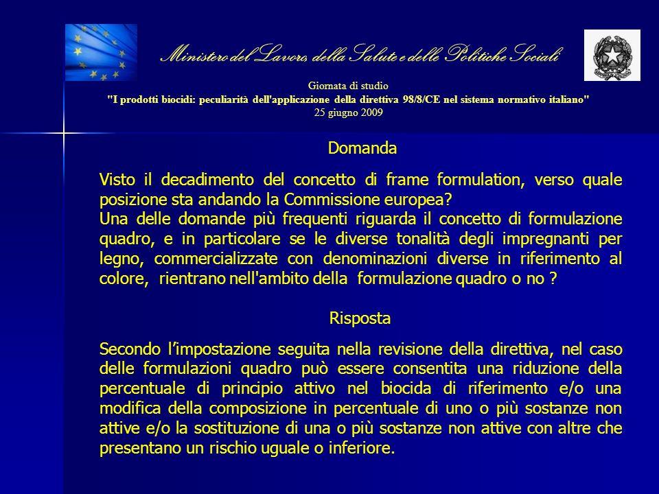 Ministero del Lavoro, della Salute e delle Politiche Sociali Giornata di studio I prodotti biocidi: peculiarità dell applicazione della direttiva 98/8/CE nel sistema normativo italiano 25 giugno 2009 Domanda Visto il decadimento del concetto di frame formulation, verso quale posizione sta andando la Commissione europea.