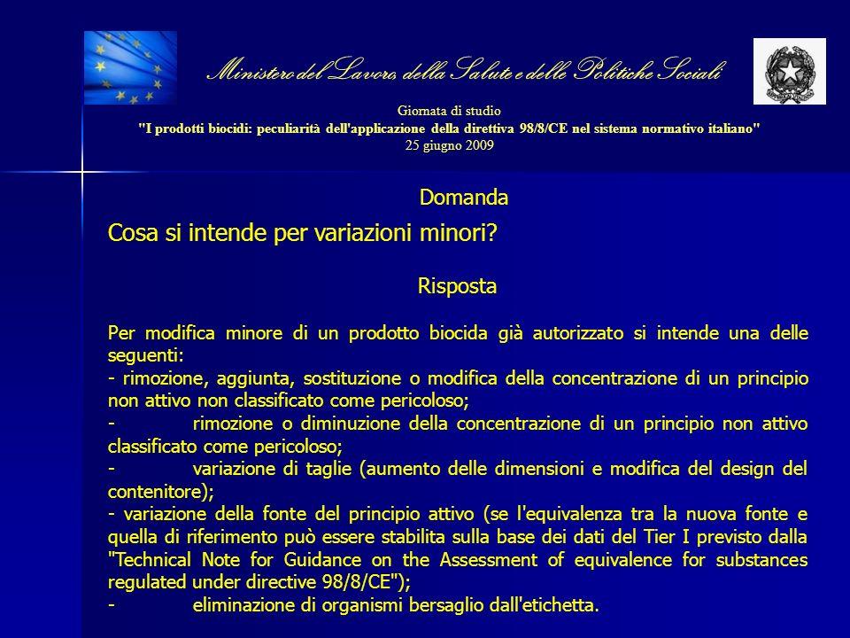 Ministero del Lavoro, della Salute e delle Politiche Sociali Giornata di studio I prodotti biocidi: peculiarità dell applicazione della direttiva 98/8/CE nel sistema normativo italiano 25 giugno 2009 Domanda Cosa si intende per variazioni minori.