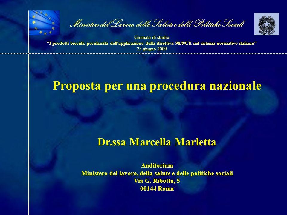 Proposta per una procedura nazionale Dr.ssa Marcella Marletta Auditorium Ministero del lavoro, della salute e delle politiche sociali Via G. Ribotta,
