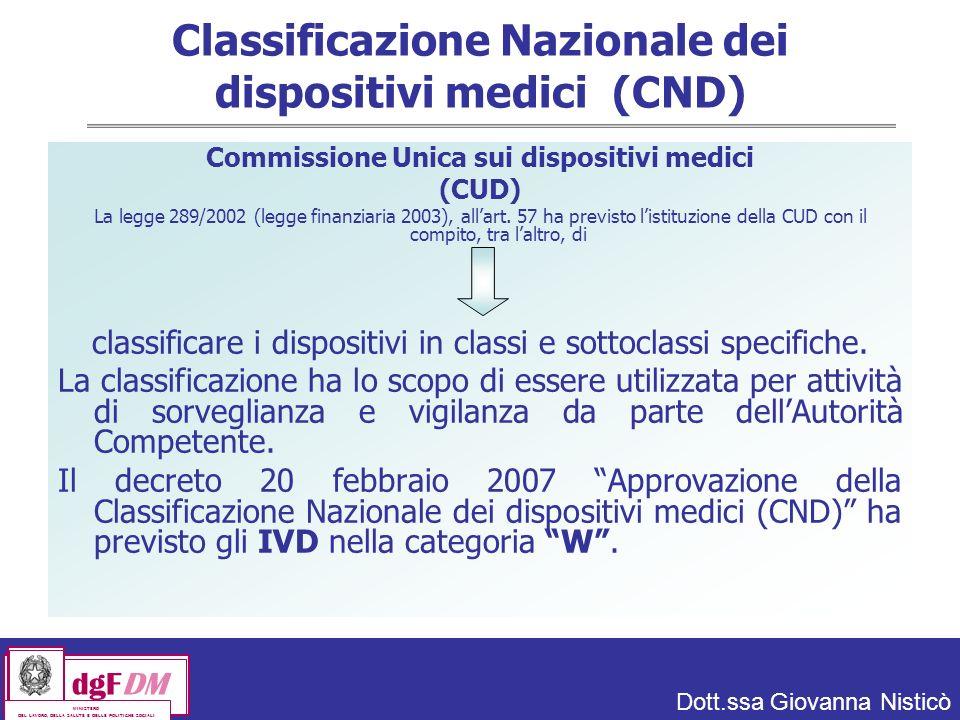 Dott.ssa Giovanna Nisticò dgFDM MINISTERO DEL LAVORO, DELLA SALUTE E DELLE POLITICHE SOCIALI Classificazione Nazionale dei dispositivi medici (CND) Commissione Unica sui dispositivi medici (CUD) La legge 289/2002 (legge finanziaria 2003), allart.