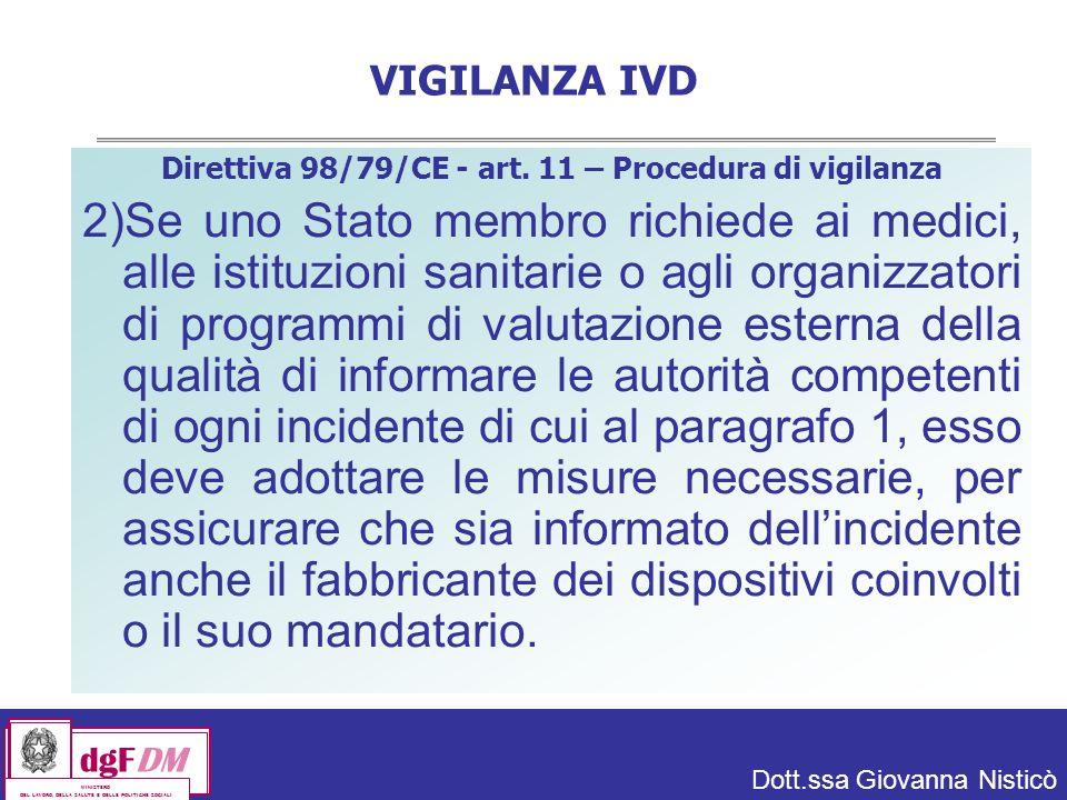 Dott.ssa Giovanna Nisticò dgFDM MINISTERO DEL LAVORO, DELLA SALUTE E DELLE POLITICHE SOCIALI VIGILANZA IVD Direttiva 98/79/CE - art.