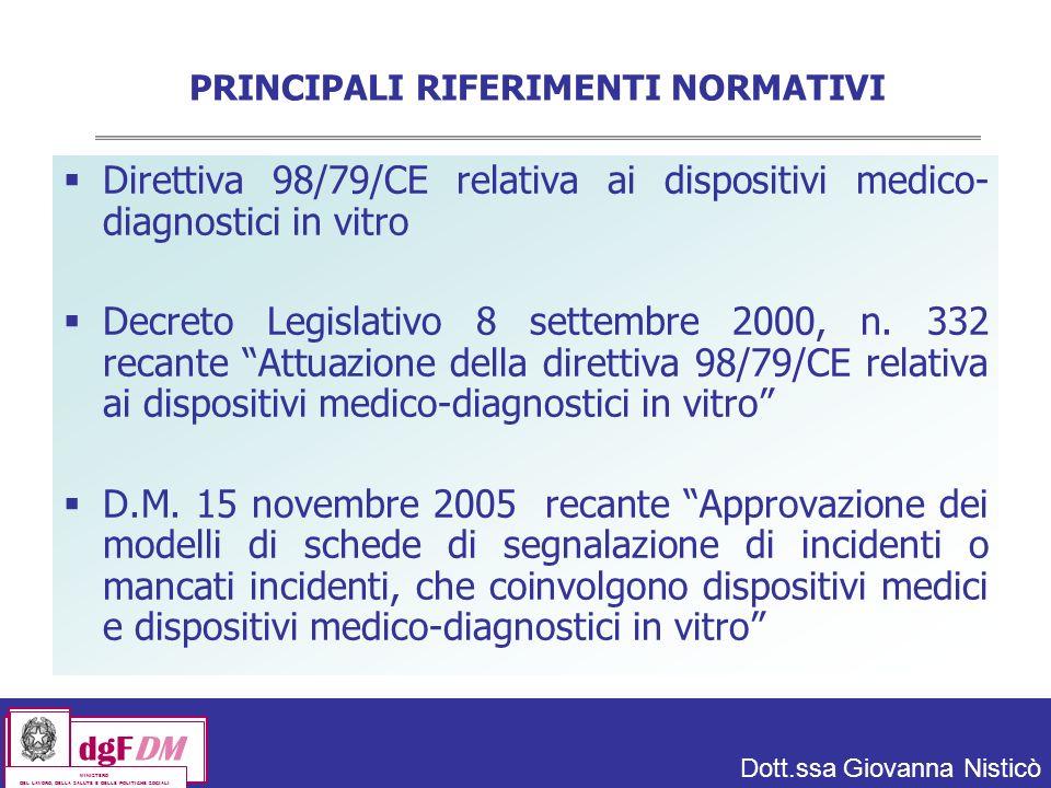 Dott.ssa Giovanna Nisticò dgFDM MINISTERO DEL LAVORO, DELLA SALUTE E DELLE POLITICHE SOCIALI PRINCIPALI RIFERIMENTI NORMATIVI Direttiva 98/79/CE relativa ai dispositivi medico- diagnostici in vitro Decreto Legislativo 8 settembre 2000, n.