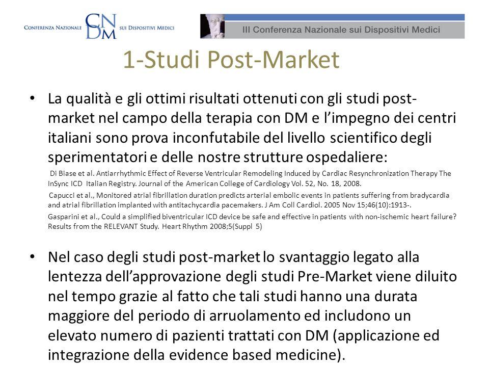1-Studi Post-Market La qualità e gli ottimi risultati ottenuti con gli studi post- market nel campo della terapia con DM e limpegno dei centri italian